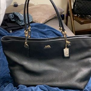 Leather black coach tote